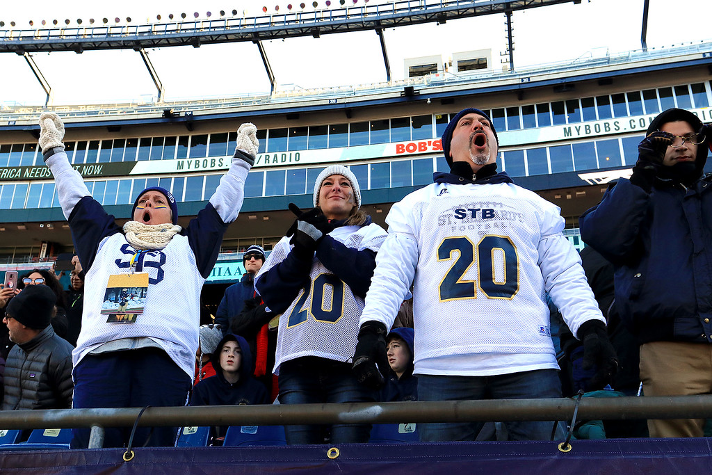 . St. Bernard�s played Pope John XXIII at Gillette Stadium in Foxborough on Saturday morning, December 1, 2018 for the Division 8 state final game. St. B\'s fans cheer on their team at the start of the game. SENTINEL & ENTERPRISE/JOHN LOVE
