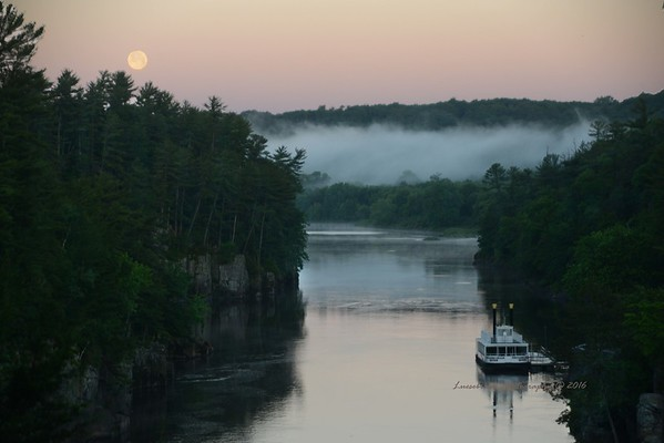 Moon setting over the St. Croix River