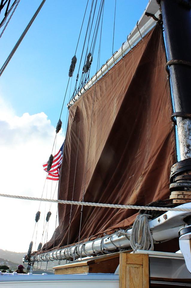 Raising the Roseway Sail