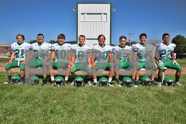 -Messenger photo by Britt Kudla <br /> Running Backs for St. Edmond are (left to right): Noah Carlson, Sean Newell, Isaac Lursen, Jack Rasmussen, Logan Fear, Jackson Bemrich, Cade Naughton, and Peyton Spangler<br /> Missing: Connor Allison and Gavin Hinners