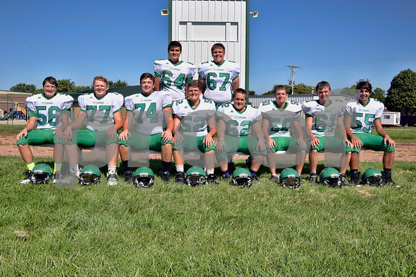 -Messenger photo by Britt Kudla <br /> Lineman for St. Edmond are, front row (left to right): Ethan Lursen, Nick Lawler, Sean Flaherty, Charlie Doyle, Bryce Anderson, Tyler McCarville, Ty Smith, Mason O'Brien <br /> Back Row: Rene Cazares and Max Wallace