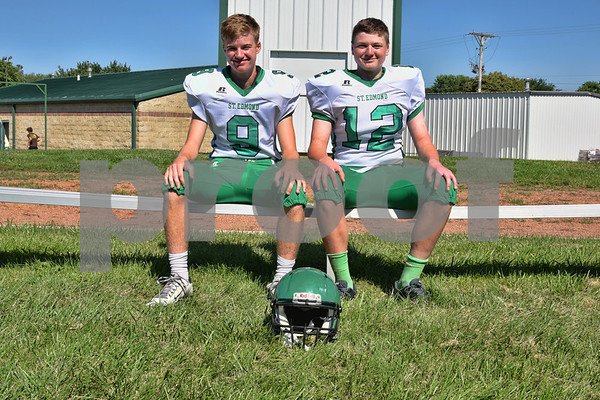 -Messenger photo by Britt Kudla <br /> Quarterbacks for St. Edmond are (left to right): Jed Tracy and Andrew Gibb<br /> Missing: Elijah Litwiller