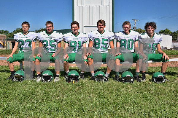 -Messenger photo by Britt Kudla <br /> Wide Receivers for St. Edmond are (left to right): Mitchell Rasmussen, Charlie Shelly, Jackson Kochendorfer, Will Woodruff, Nick Bennett, and Jake Rossow