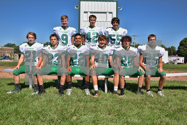 -Messenger photo by Britt Kudla <br /> Defensive Back for St. Edmond are, front Row (left to right): Noah Carlson, Mitchell Rasmussen, Peyton Spangler, Isaac Lursen, Jake Rossow, Charlie Shelly<br /> Back Row: Jed Tracy, Jackson Bemrich, and Mason O'brien