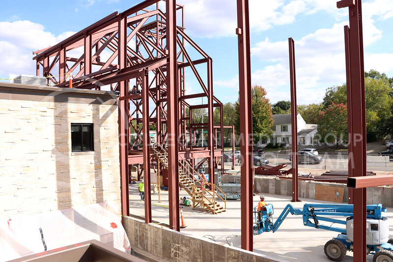 The construction at St. Isidore's is in full swing, with the Student Center almost complete. (Elizabeth Sandstrom | Collegian Media Group)