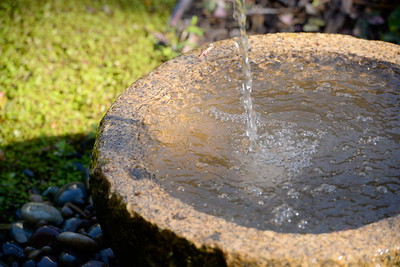 A fountain is seen during a tour of the garden at Ruth Guzley's residence in Chico, Calif. Friday April 14, 2017. This is one of the gardens that will be featured during the St. John Episcopal Church Garden Tour.  (Bill Husa -- Enterprise-Record)