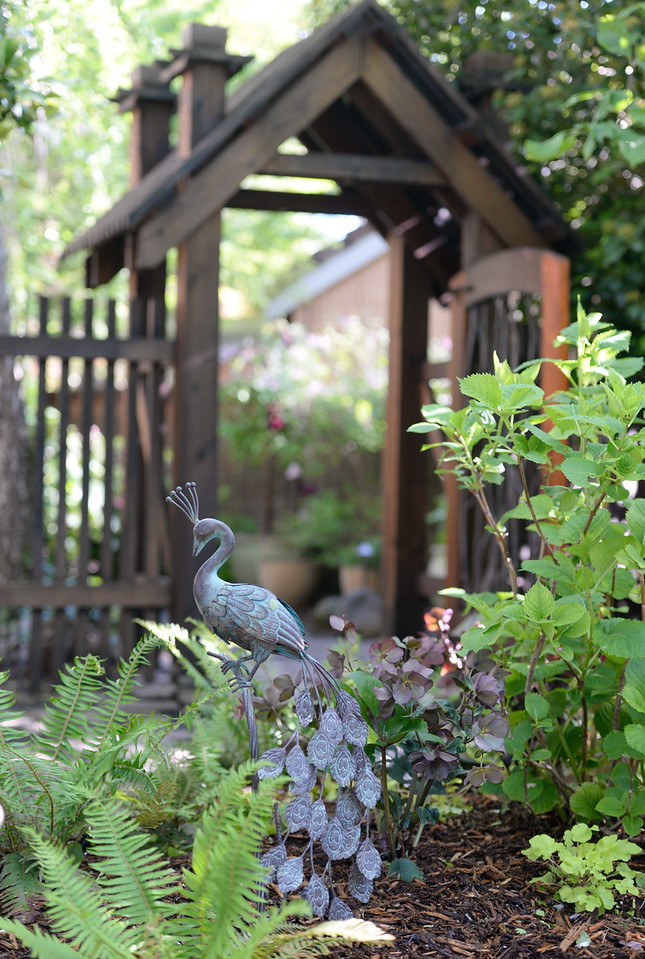 A custom gated entrance into the back yard is seen during a tour of the garden at Ruth Guzley's residence in Chico, Calif. Friday April 14, 2017. This is one of the gardens that will be featured during the St. John Episcopal Church Garden Tour.  (Bill Husa -- Enterprise-Record)
