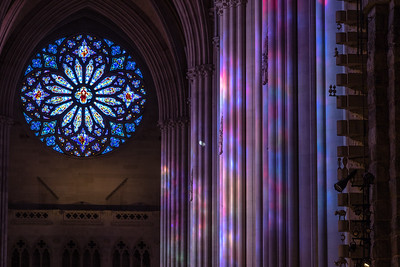 Stained Glass Reflecting onto the Limestone Columns