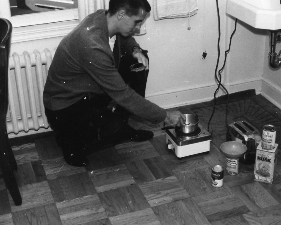 Tom cooking in his room at St. John's Seminary