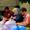 Assembling blankets for homeless students in Green Bay, WI.