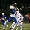 Leominster High School football played Saint John's on Friday night at Doyle Field in Leominster. SJHS's Devin Gagnon tries to stop LHS's Jayvie Rodriquez frommaking a catch during action in the game. SENTINEL & ENTERPRISE/JOHN LOVE