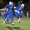 Leominster High School football played Saint John's on Friday night at Doyle Field in Leominster. LHS's #1 Arlee Gilot and #7 Larry Noudjom celebrate just before half time. SENTINEL & ENTERPRISE/JOHN LOVE