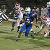 Leominster High School football played Saint John's on Friday night at Doyle Field in Leominster. LHS's #26 Justus-Tyler reynolds finds some running room on his way to score a touchdown. SENTINEL & ENTERPRISE/JOHN LOVE