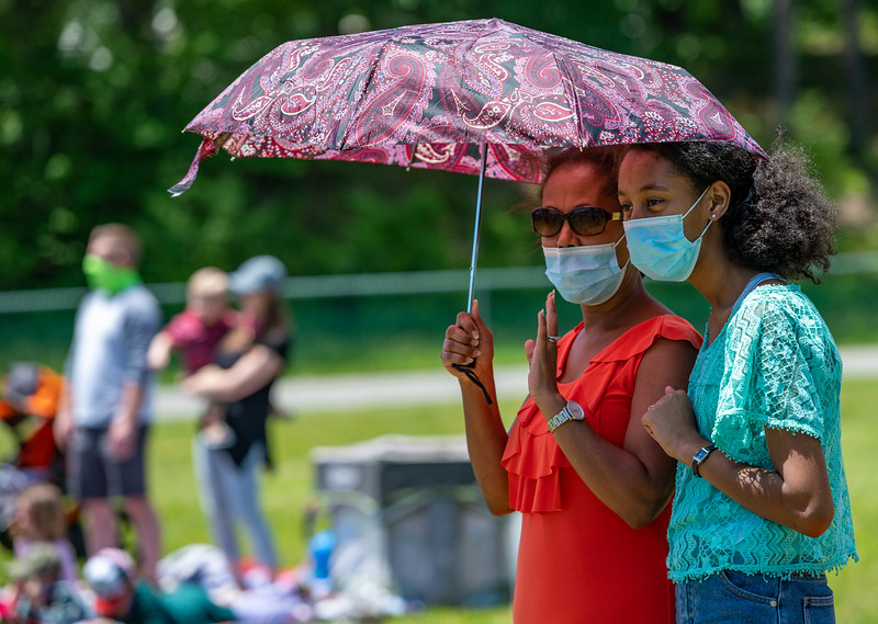 An estimated 500 parishioners attended two outdoor Masses at St. Joseph Church in Fullerton May 31, as part of the Archdiocese of Baltimore's planned reopening of parishes since the global pandemic forced many communities to quarantine. (Kevin J. Parks/CR Staff)