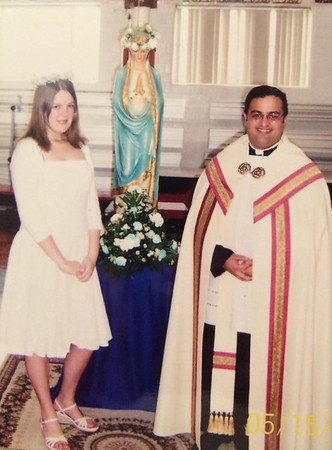 2008 May crowning with Fr. Shane and Ashley Carenbauer.