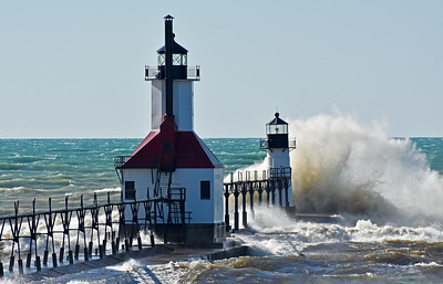 St. Joseph, Michigan Lighthouse in High Winds
