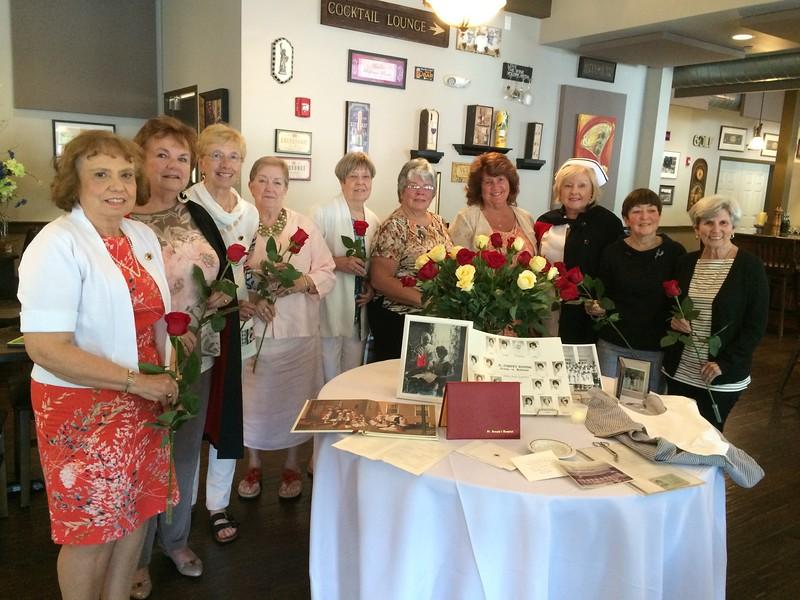 From left, Mary Ellen Howcroft of Exeter, N.H., Christine Giarrusso of Pelham, N.H., Barbra Desjardianas of Exeter, N.H., Jeannine Booth of Pelham, N.H., Cecile Frechette of Holderness, N.H., Carole Morin of Groton and Maureen Novelline of Hudson, Leslie Morin of Lowell, Lorraine Christedes of Pelham, N.H., and Eileen Brochu of Center Conway, N.H.