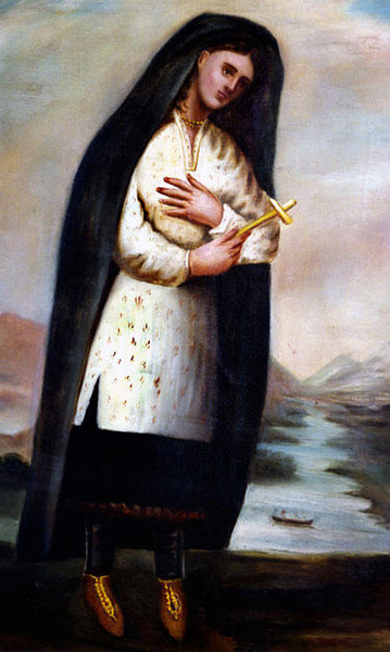 Only known portrait of Catherine Tekakwitha, 1681, by Father Claude Chauchetière, a Jesuit priest who played an important role in Kateri's life. Based in New France and in Kahnawake, Chauchetière was the first to write a biography of Tekakwitha's life, in 1695. (Wickipedia)