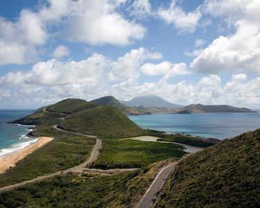 St. Kitts, West Indies.  North & South Friar's Bays from St.Timothy's Hill.