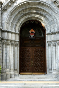 Exterior view of cathedral. Front door.