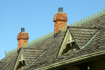 Roofline of Restored St Charles MKT railroad depot