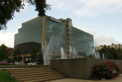 Nearby building and fountains
