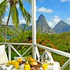 Caribbean      St. Lucia      Anse Chastanet<br /> Superior Room (6b)<br /> Balcony breakfast to Piton view