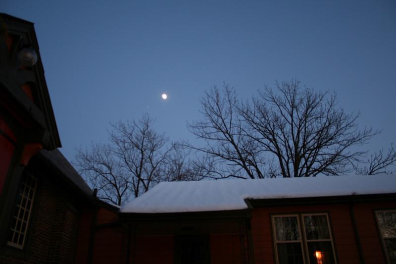 Night shots of a full moon over St. Luke's Church, Ewing, NJ, December, 2005