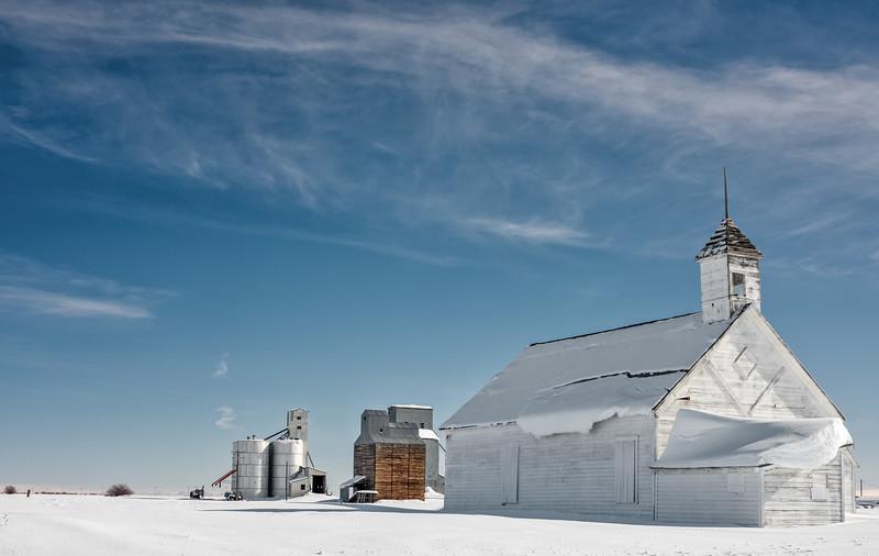 Schoolhouse in Farm Country with Grain Silos