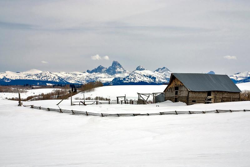 Winter Barn and Tetons Idaho