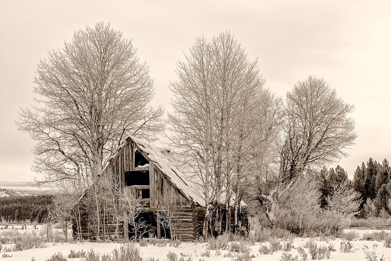 Cabin near Placerville Idaho winter