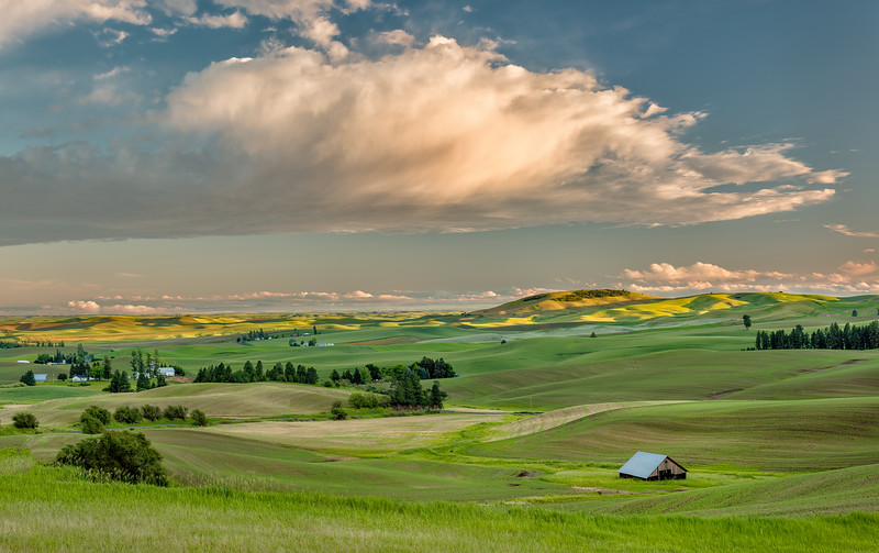 Palouse sunset with Barn and clouds