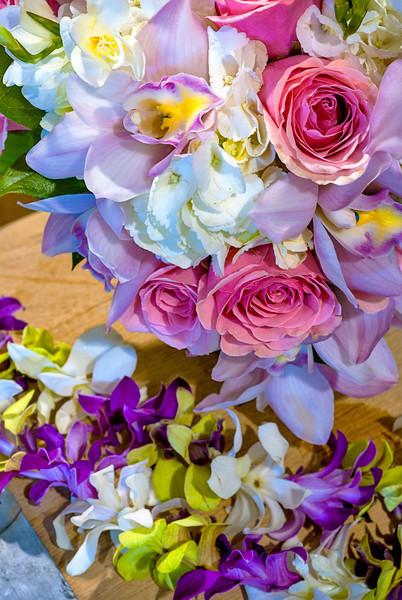 Close up of wedding flowers on wind barrels