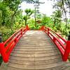 Beautiful red and wood bridge Hiroshima Japan