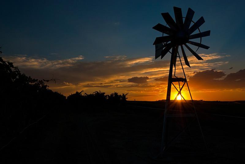 Beautiful sunset over farm near Napa Idaho