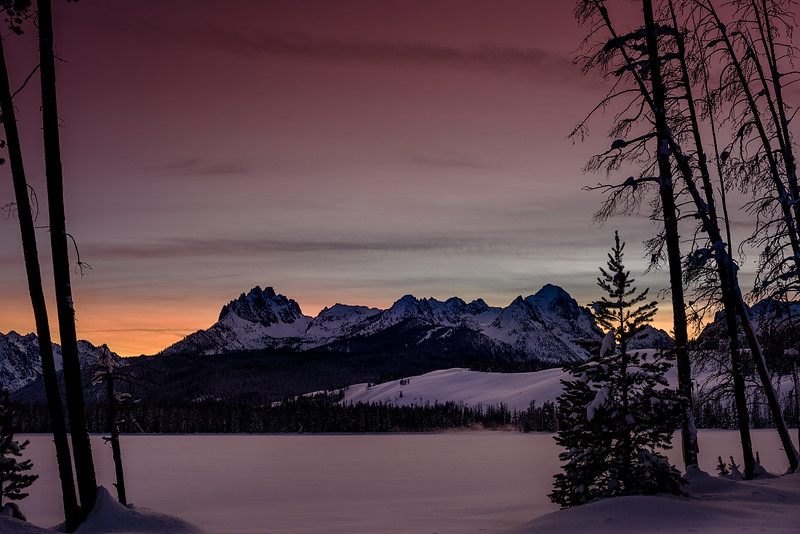 Colors of winter sunset over Little Redfish lake
