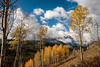 Clearing clouds in the Sawtooths with autumn trees