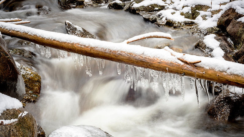 Icicles hand from a frozen log winter creek