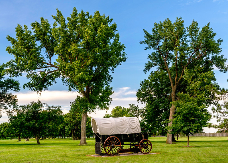 Classic Covered Wagon with Trees in Park