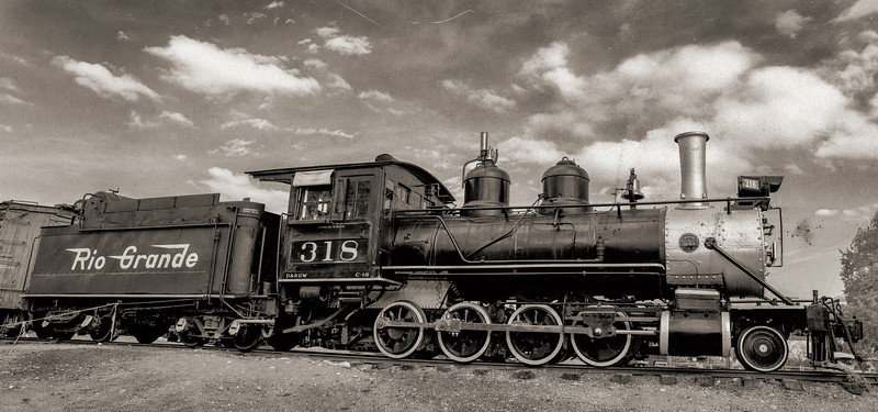 Classic Antique Train with Black and White Wet Plate Treatment