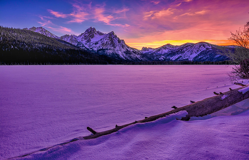 Sunset over a Frozen Stanley Lake Idaho