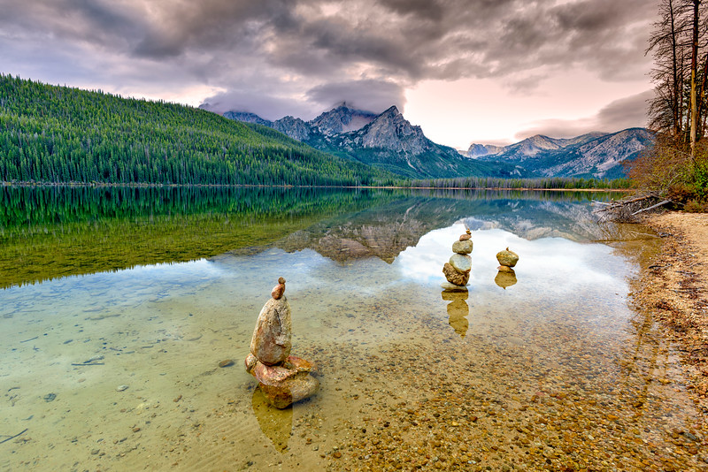 Stanley Lake stacked rocks