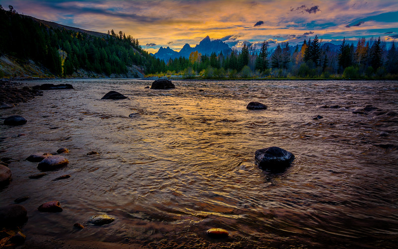 Sunset over the Tetons on the Snake River