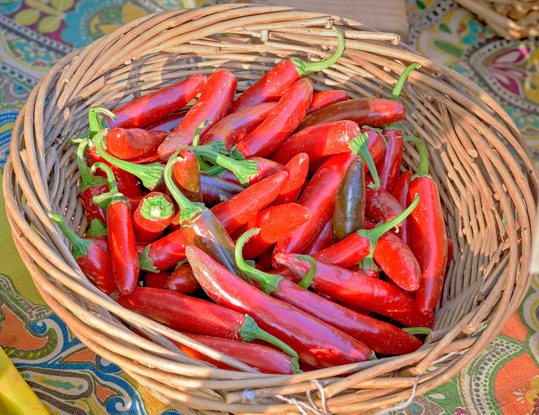 Small Red Peppers in a Wooden Basket