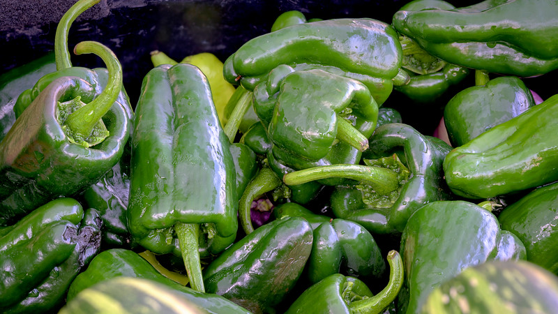Green peppers for Sale at a Market