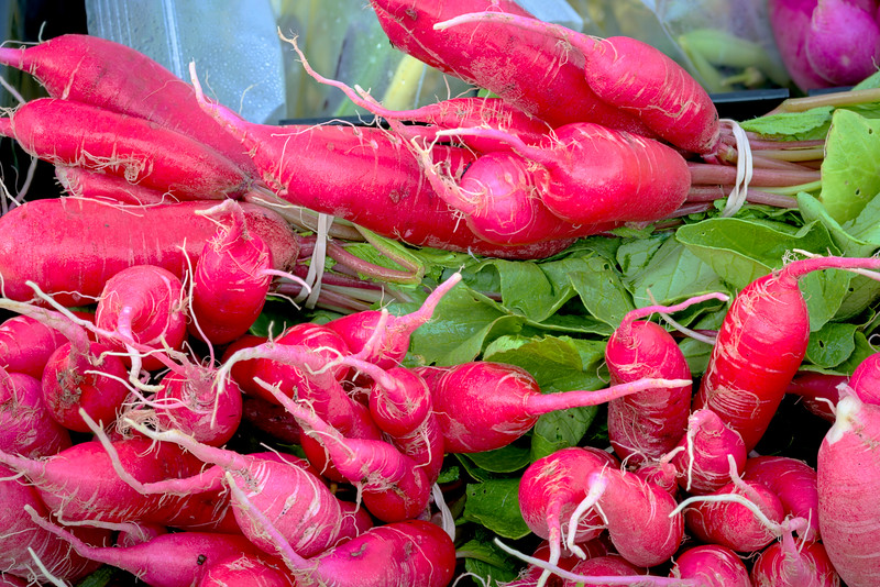 Colorful Red Radishes at the Market