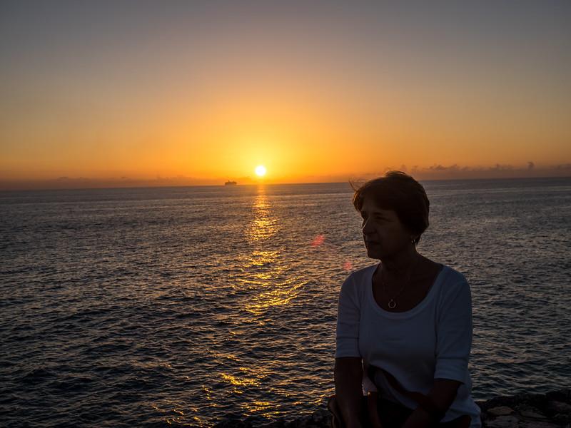 My wife in silhouette at Mullett  Bay, St. Maarten.