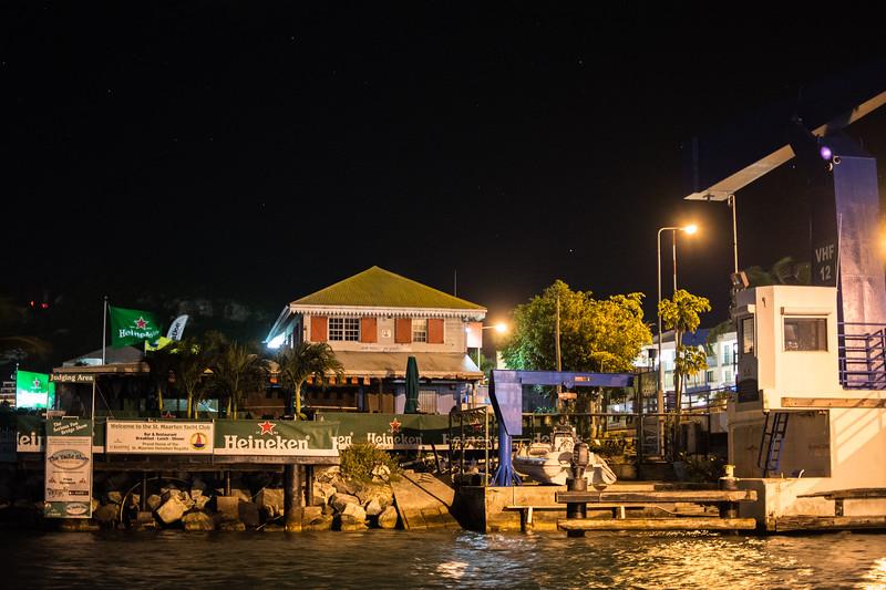 The Heineken Regatta Headquarters/St. Martin Yacht Club at approximately 3AM.