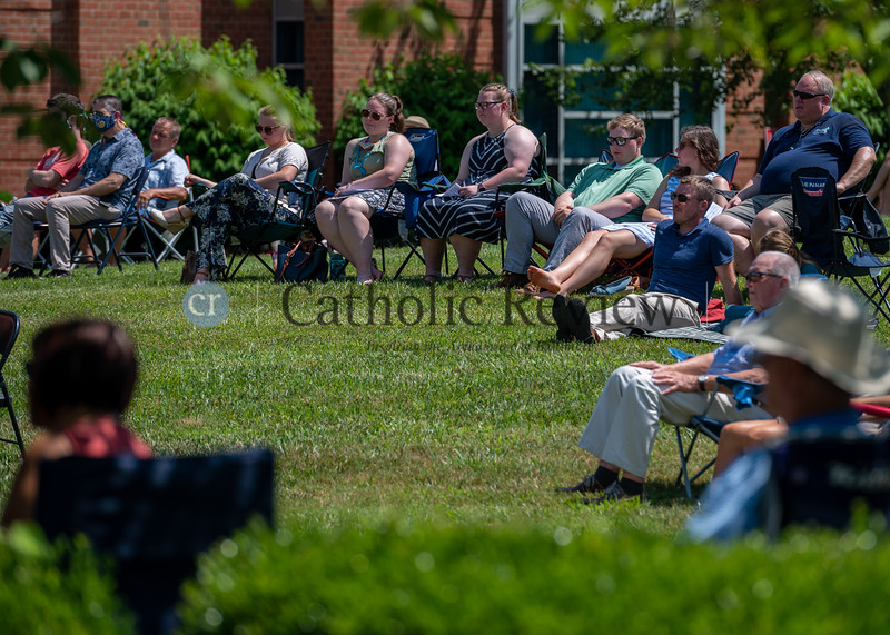 Parishioners attend 11 am outdoor Mass June 28, 2020 at St. Mary Magdalen Mission in Bel Air. Parishes around the Archdiocese of Baltimore have hosted outdoor services in the wake of the COVID-19 pandemic. (Kevin J. Parks/CR Staff)