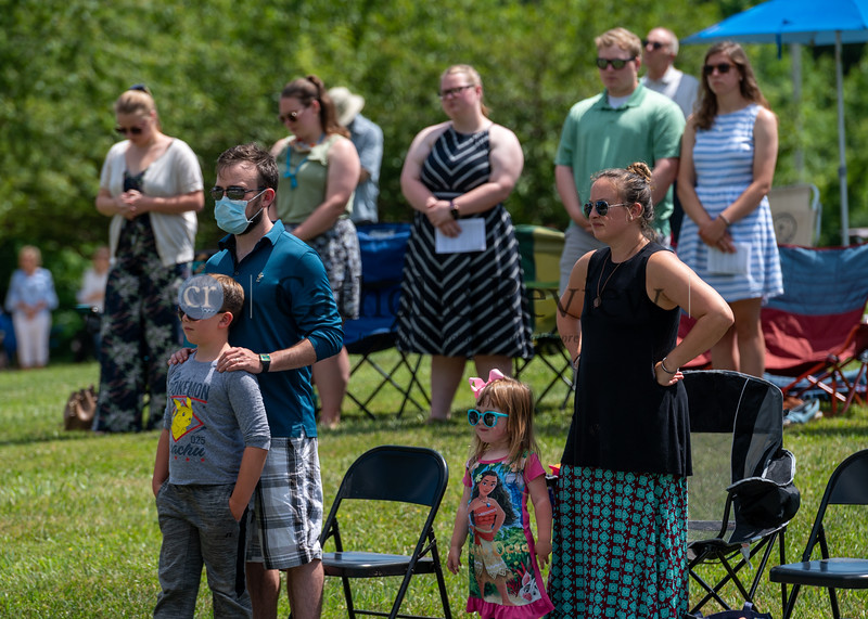 The Hoenke Family, front, and Olsen Family, back, were among an estimated 300 parishioners attending the 11 am outdoor Mass June 28, 2020 St. Mary Magdalen Mission in Bel Air. (Kevin J. Parks/CR Staff)